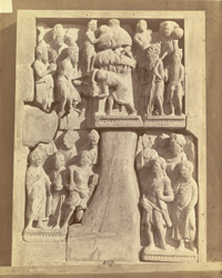 Fragment of urdhvapatta, showing two scenes, Peshawar District